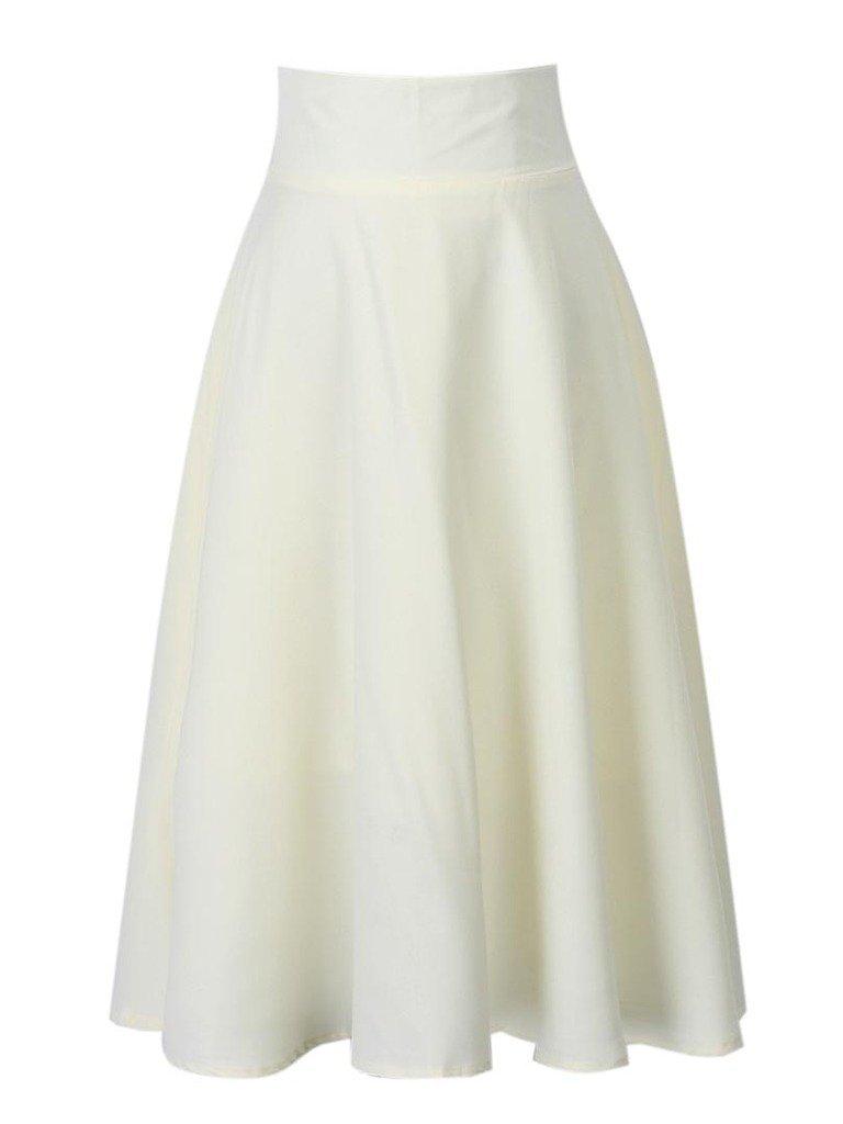 Clothink Women White High Waist Midi Skater Skirt L