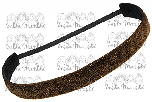 Zelda Matilda - CHILD - Brown Sparkle NO SLIP Sweat Band - Great for Dancers, Yoga, Sports, Cheer, Exercise and