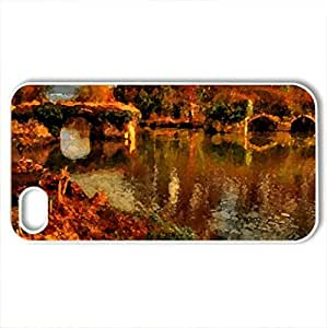 Autumn in the Park - Case Cover for iPhone 4 and 4s (Watercolor style, White)