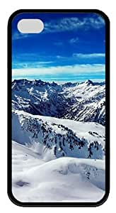 hd winter mountains TPU Black Case for iphone 4S/4 by runtopwell