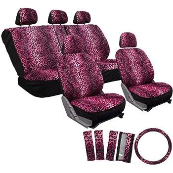 OxGord 17pc Set Leopard Animal Print Auto Seat Covers