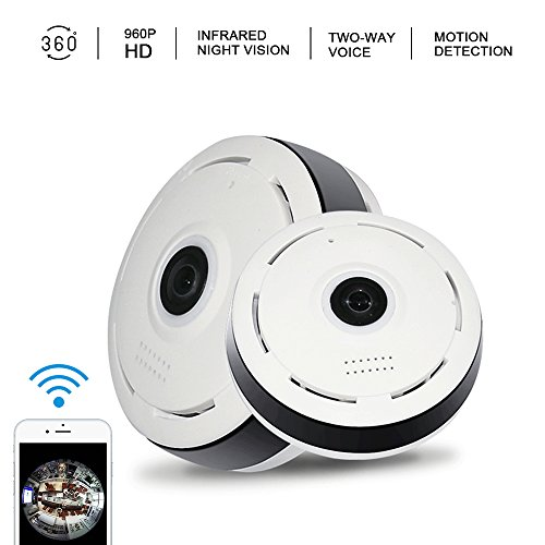 BMBZON Wireless Camera Home Safe 360 Degree ip Camera Panoramic 2.0 Megapixel Fish-eye Lens 1080P 2.4GHZ Surveillance Camera Support IR Night Motion Detection (US Edition)