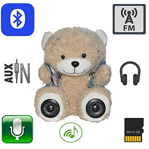 "11.8"" Multifunction Monkey Plush Toy Bluetooth Wireless Micro Sd Memory Card Stereo Speaker w/ Fm Radio Microphone Rechargeable Battery (Gift Retail Package) (Plate Stereo Tube)"