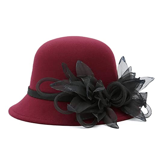 ChenXi Store Women s Wool Felt Flowers Church Bowler Hats at Amazon Women s  Clothing store  3ee99a701b1e
