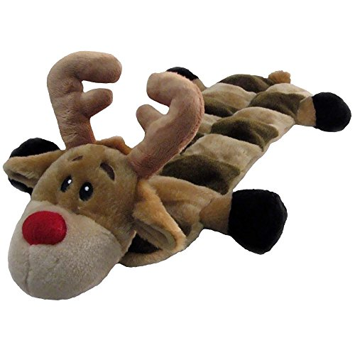Outward Hound Kyjen  PP03321 Squeaker Mat Holiday Reindeer 16 Squeaker Plush Squeak Toy Dog Toys, Large, Brown Kyjen Plush Squeak Mat