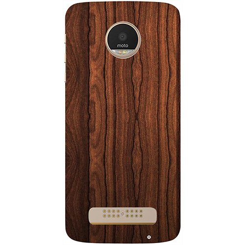 Casotec Wooden Texture Design 3D Printed Hard Back Case Cover for Motorola Moto Z Play