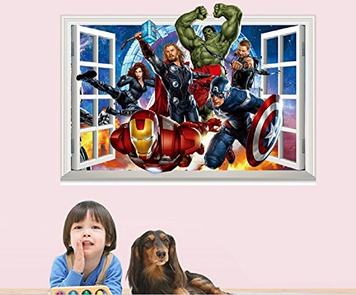 Giant Superheroes Avengers 3d Wall Sticker for Kids Rooms Wall Adhesive Home Decor Wall Decals (The Avengers #3)