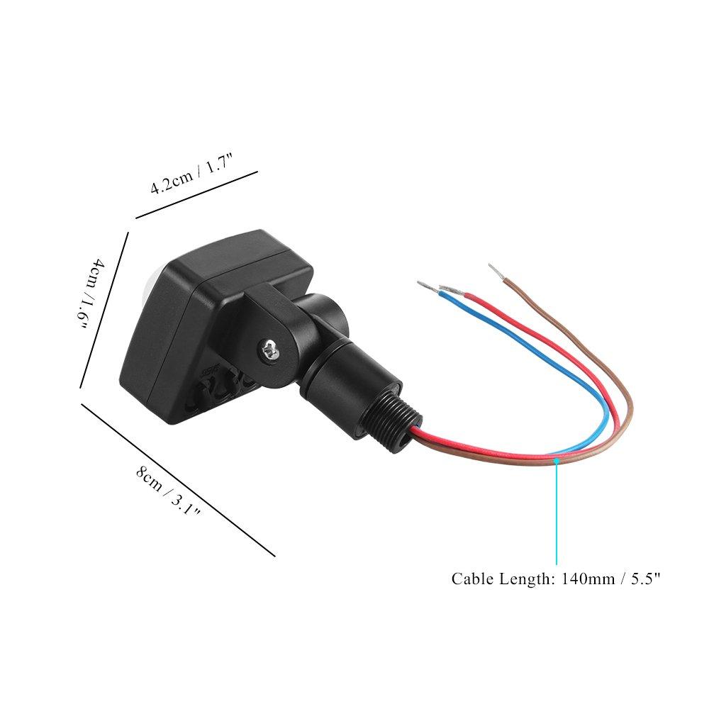 Sensor de movimiento PIR interruptor Sunsbell PIR Infrarrojos cuerpo inducción Sensor de movimiento interruptor de luz de 180 grados, tiempo de retardo ...