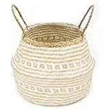 La Maia Medium Natural & Plus Seagrass Belly Plant Handles Woven Planter Basket for for Storage, Laundry, Picnic, and Beach Bag Plus White