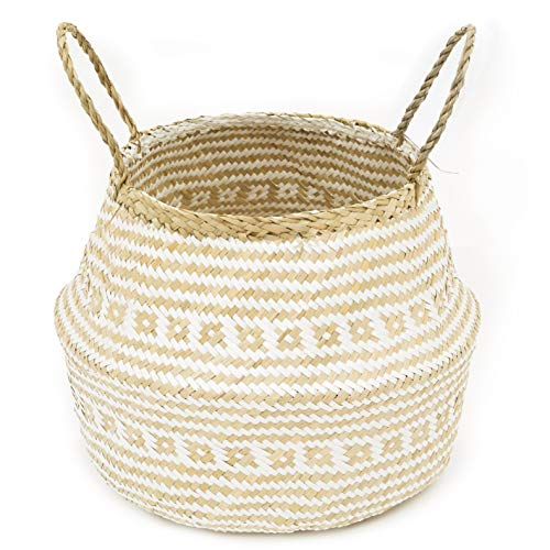 La Maia Medium Natural & Plus Seagrass Belly Plant Handles Woven Planter Basket for for Storage, Laundry, Picnic, and Beach Bag Plus White ()