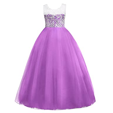Girls  Tulle Dresses 7-16 Flower Lace Pageant Party Wedding Floor Length  Formal Dance Evening Gowns 4ccd48ce8