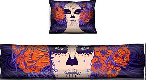 Liili Mouse Wrist Rest and Keyboard Pad Set, 2pc Wrist Support IMAGE ID: 24586896 Young pretty Mexican Sugar Skull girl with flowers in her hair and scary makeup for Day ()