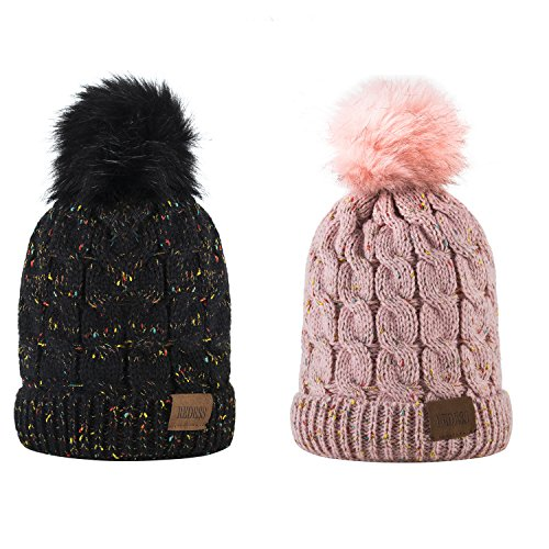 Kids Winter Warm Fleece Lined Hat, Baby Toddler Children's Beanie Pom Pom Knit Cap for Girls and Boys by REDESS (Two Pack A Confetti Black & Pink Design)