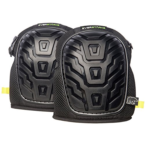Everstärke Professional Knee Pads plus Tote - Heavy Duty Foam and Comfortable Gel Core with Non-Slip Adjustable Velcro and Neoprene Double Straps - For Construction Work, Tiling, Cleaning, Gardening