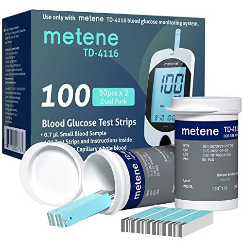Metene TD-4116 Blood Glucose Test Strips, 100 Count Blood Sugar Test Strips for Diabetes, Use with metene TD-4116 Blood…