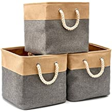 Collapsible Storage Bin Cube Basket [3-Pack] EZOWare Foldable Canvas Fabric Tweed Storage Bin Set With Handles - Gray For Home Office Closet ( 13 x 13 x 13 inches )