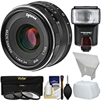 Opteka 35mm f/1.7 HD MF Prime Lens with 3 UV/CPL/ND8 Filters + Flash + Diffusers Kit for Olympus OM-D, PEN & Panasonic LUMIX Micro 4/3 Digital Cameras