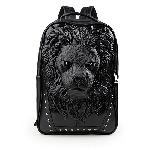 Koolertron 3D Lion Studded College Backpack PU Leather Ru...