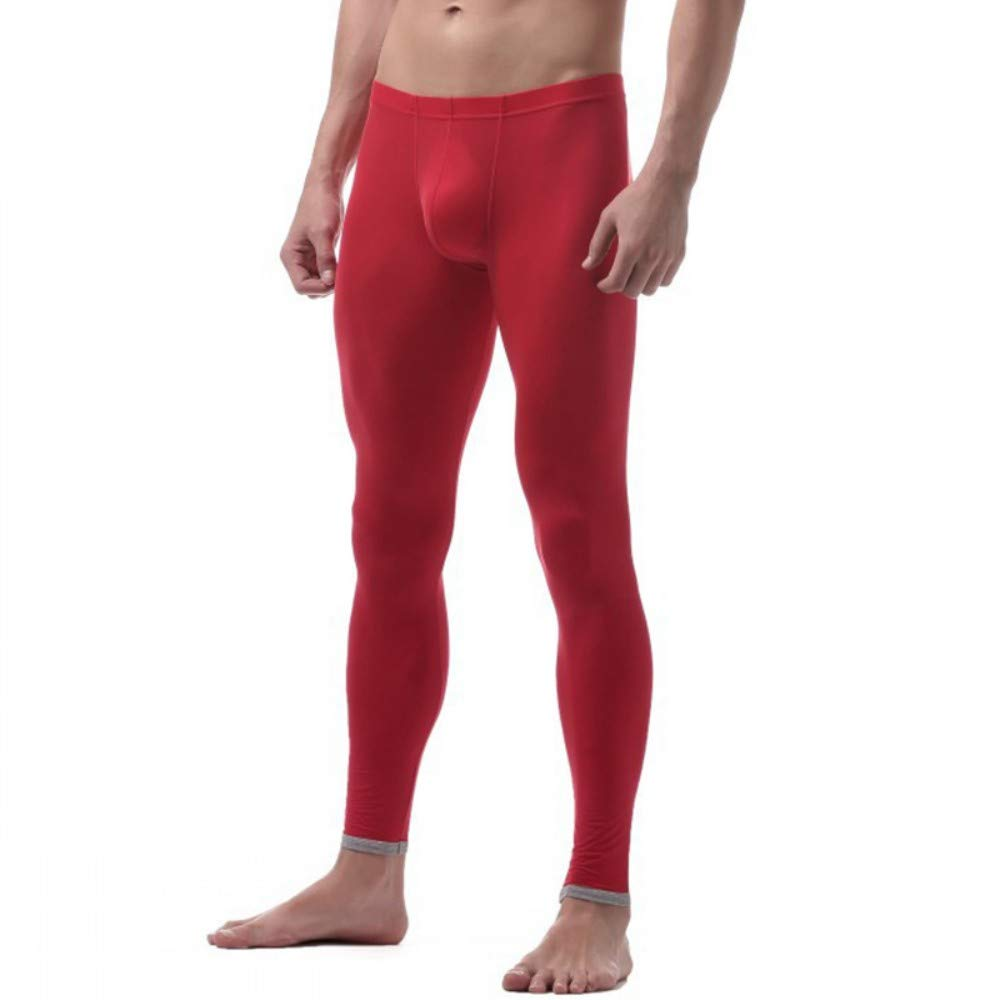 Mens Warm Breathable Seamless Knee Protector Ice Silk Long Underwear Red M