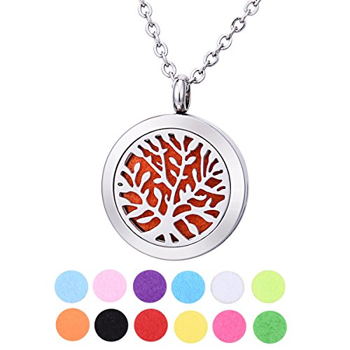 QX Essential Oil Diffuser Necklace Stainless Steel Life Tree Aromatherapy Locket Pendant Jewelry Teen Girls Gifts - Round 25mm