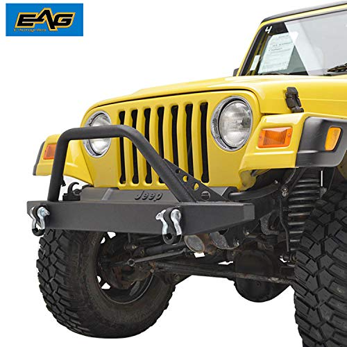 - EAG Front Bumper with 2x D-ring Fit for 87-06 Jeep Wrangler TJ/YJ