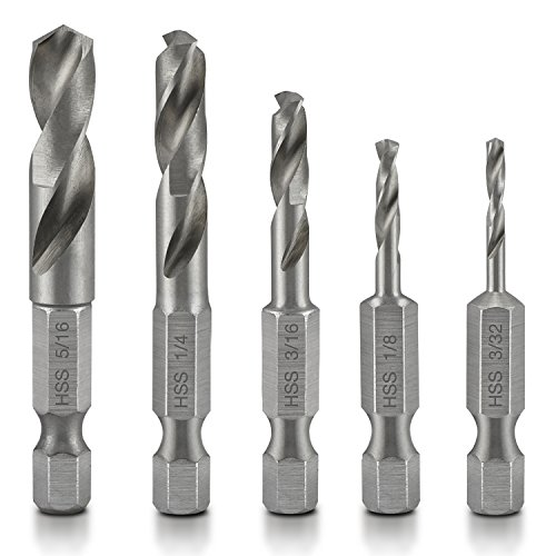 Neiko 11402A Stubby Drill Bit Set for Metal, 5 Piece | 1/4-Inch Quick Change Hex Shank | M2 HSS Steel