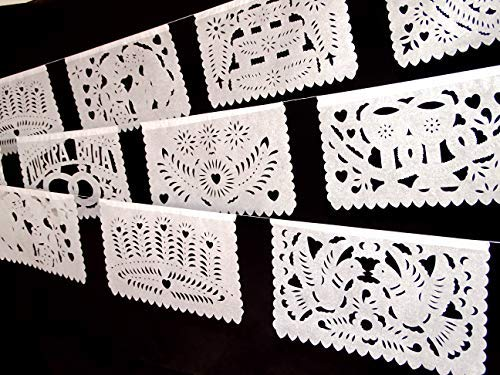 5 Pk Mexican Wedding Decorations 50 Panels Of White Papel Picado