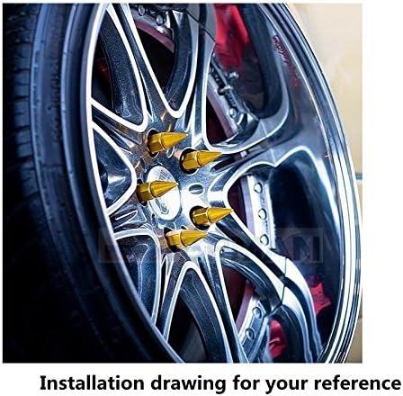EPMAN Fantastic Look Aluminum M14 x 1.5 Wheel Lug Nuts Spikes Spear Tip Silver, Pack Of 20