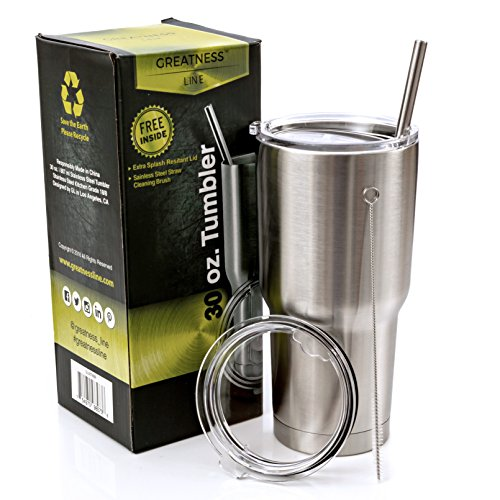 Greatness Line 30 oz. Stainless Steel Tumbler Value Pack with 2 Lids and Extra SS Straw - Double Wall Insulated Travel Cup - Keeps Cold & Hot (Hot Cold Water Stickers compare prices)