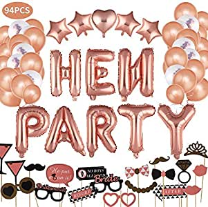 JUSTIDEA 94Pcs Rose Gold Hen Party Decorations Accessories, Bachelorette Decorations Banners Heart Shape 40 Foil Balloon, Confetti Latex Balloons for Party Decorations with Photo Booth Props
