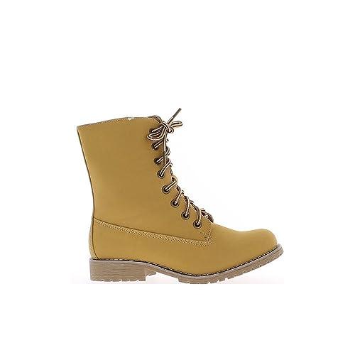 1330bbc7e Botines Llena Camello tacón de 3cm y Cordones  Amazon.es  Zapatos y  complementos