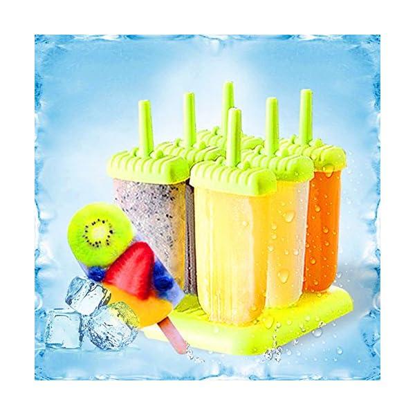 delmkin 6 St. ghiaccioli forme ghiaccio forme 6 pezzi gelato forme per bambini verde 4 spesavip