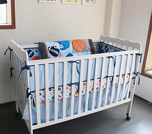 NAUGHTYBOSS Baby Bedding Set Cotton 3D Embroidery Ball Sport Quilt Bumper Bedskirt Mattress Cover Diaper Bag Window Curtain Blanket 10 Pieces Set Blue by NAUGHTYBOSS (Image #5)