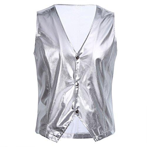 Freebily 80s Rappers MC Hammer Vest Mens Costume Clubwear Nightwear Silver Medium