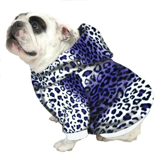 Plus Size Pups English Bulldog Dog Sweatshirts - Sizes BEEFY and BIGGER THAN BEEFY with More than 20 Fleece Patterns to Choose From! (BEEFY, Purple Leopard)