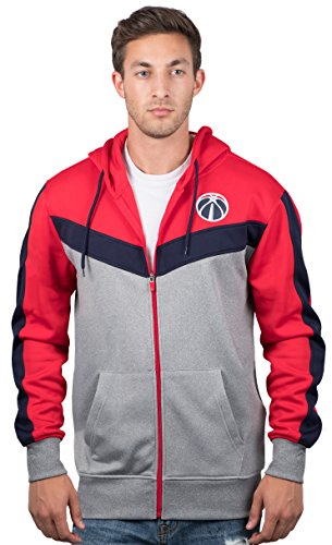 UNK NBA NBA Men's Washington Wizards Full Zip Hoodie Sweatshirt Jacket Contrast Back Cut, Medium, Red