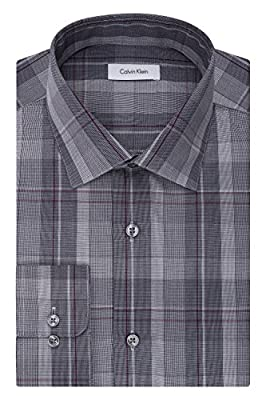 Calvin Klein Men's Non Iron Regular Fit Plaid Spread Collar Dress Shirt