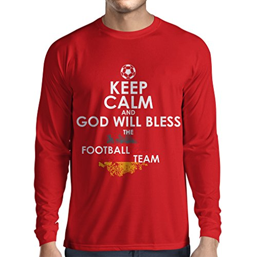 fan products of N4457L Long Sleeve t Shirt Men Keep Calm and God Will Bless The Germany National Football Team (X-Large Red Multi Color)