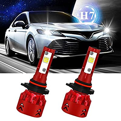 KooJoee Mini7-H7 LED Headlight Bulb,2018 Newest Version All-in-One Conversion Kits 6000K Cool White 60W 9600Lms Per Pair-High Beam Headlamps Bulbs Lamps
