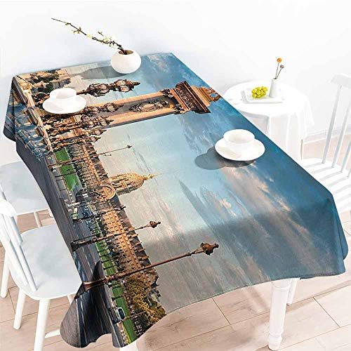 - Homrkey Polyester Tablecloth Paris Decor Collection Pont Alexandre III Bridge 1896 Spanning The River Seine Ornate Art Nouveau Lamps Image Blue Ivory Table Decoration W60 xL84