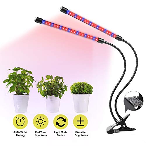 UNIWA Grow Light 20W Dual Head Plant Grow Lamp with 40 LED Red/Blue Spectrum 360° Gooseneck 5 Dimmable Levels Desktop Grow Light for Indoor Plants Hydroponics Greenhouse ()