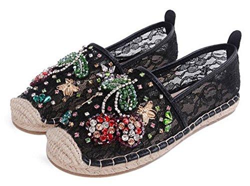 Showhow Dames Comfortabele Mesh Steentjes Cap Teen Geweven Flats Schoenen Zwart