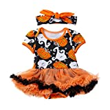 Baby Girls Halloween Outfit, Cute 2Pcs Infant Baby Girls Halloween Pumpkin Bow Romper Tutu Dresses with Heabband Outfits Set Autumn Clothes (12-18 Months, Orange)