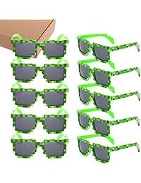 10pc 8-Bit Pixel UV Protect Gamer Sunglasses Adult Kids...