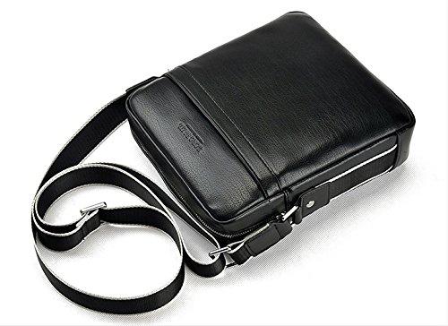 de bag hombre mensajero cuero de bolso de bolso bolso AIAIMEI hombre pequeña piel bandolera para bolso de casual tipo caballeros Negro hombro bandolera messenger hombre 5TwnxYwfEq
