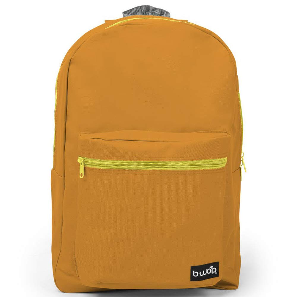 School Backpack - 1 Large Compartment with 2 Way Zipper, 1 Front Zipper Pocket 18 Inch Backpack (Orange)