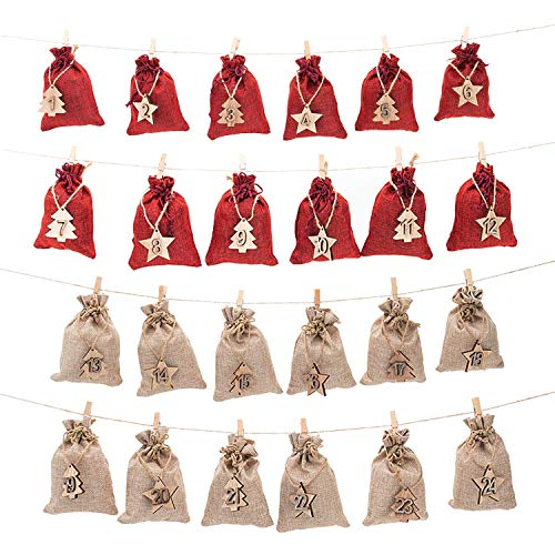 AHUA 24 Day Countdown Advent Calendar Gift Bags Jute Packing Storage Linen Jewelry Pouches Sacks for Christmas Decorations or Wedding Bridal Shower DIY Crafts Gift Party Favor Gifts (24)
