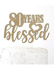 NANASUKO 80th Birthday Cake Topper - 80 years blessed - Premium quality Made in USA, Gold Glitter
