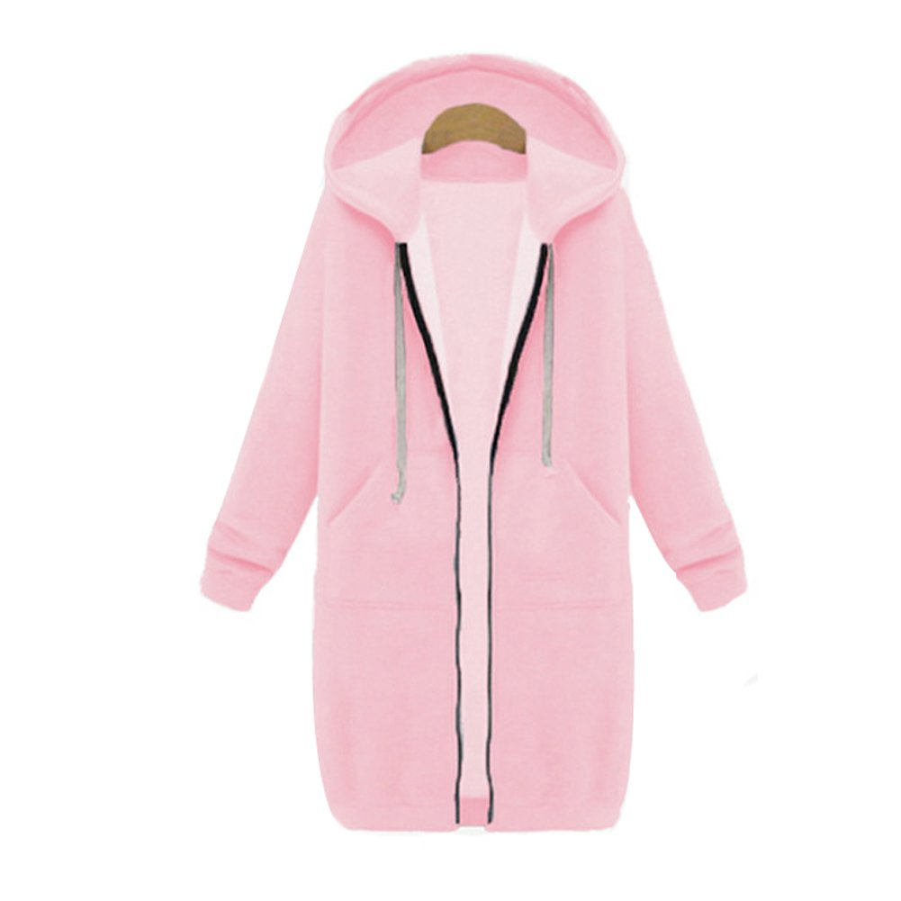Your Gallery Women's Casual Long Hoodies Sweatshirt Coat Pockets Zip up Outerwear Hooded Jacket Plus Size Tops,Pink,Medium