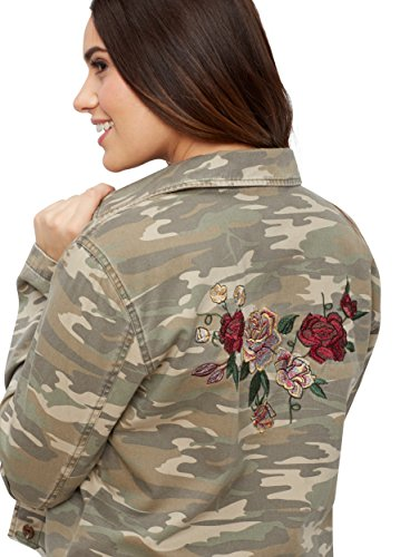 maurices Women's Cropped Camo Jacket with Floral Embroidery Medium (Embroidered Anorak Jacket)